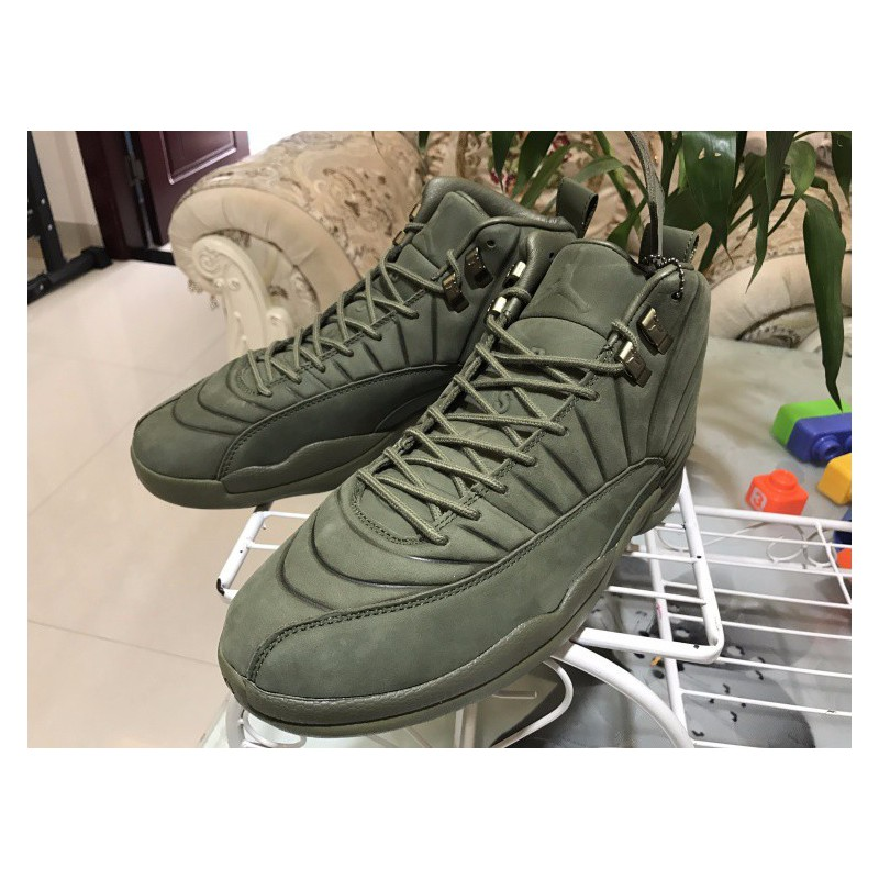 f1b2470f09a215 ... Factory Lacing Grade Psny X Air Jordan 12 Premium Olive Green Super  Crossover Limited Edition Olive