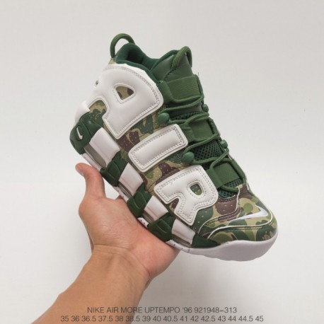 948-313 Nike Air More Uptempo Large AIR Pippen Camouflage/ white cutting piece premium quality super slow bounce basketball-sho