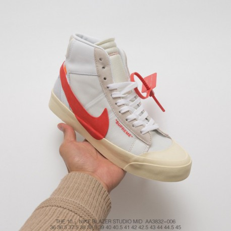 Aa3832-006 Nike Crossover New Colorway OFF-WHITE X Nike BLAZER MID Blazer White Red Crossover Limited Edition Skate Shoe