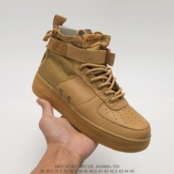 Aa3966-700 Nike SF-AF1 Mid Wheat Air Force High Zipper Text Casual Skate Shoes UNISEX Leather Upper High Quality Military Shoe