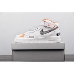 buy popular e2a8d b1105 Nike-Air-Force-1-MID-White-Orange-Tenis-