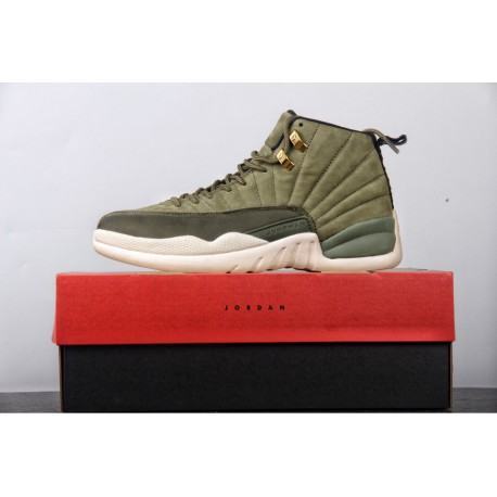 online retailer d905b cde07 Aj12 Black And White,90-301 Exclusive Release Original Air Jordan 12 AJ12  Paul CP3 Olive Green Gold Suede Premium