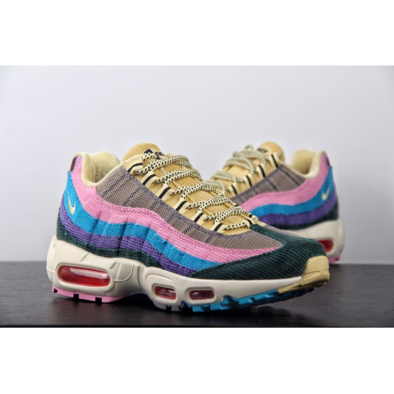 761f421c4075a ... Super Bespoke Sean Wotherspoon X Nike Air Max 95 OG Vintage Air Jogging  Shoes Rainbow Corduroy