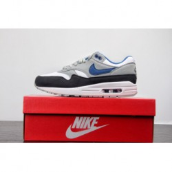 Premium Original Nike Air Max 1 Vintage Air All-Match jogging shoes white black blue 319986-03