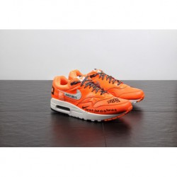 Upper Super Bespoke Just Do It Nike Air Max 1 Classic Vintage Air Jogging Shoes Bright Orange Black And White 917691-8001