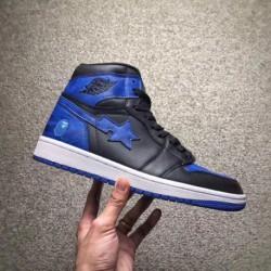Airjordan 1 X BAPE Black And Blue Camouflage Crossover Limited Edition Original Wool Full Upper Creates Double Injection Origin