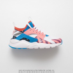 568-101 Nike Air Huarache Ultra Flyknit ID Wallace Four Generation Flyknit Vintage Jogging Shoes Amusement Park Colorwa