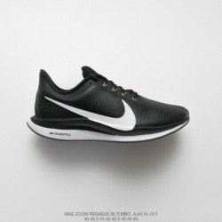 Aj4114-011 nike zoom pegasus 35 turbo lunar epic 35th generation leather upper cushioning trainers shoes black/Whit