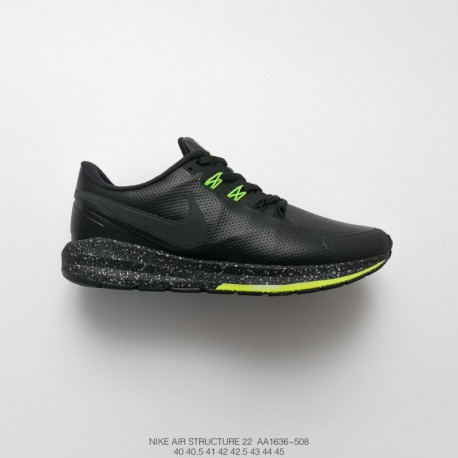 Aa1636-508 nike air structure 22 leather 22 generation leather warming jogging shoes black fluorescent green splas