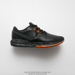 Aa1636-502 nike air structure 22 leather 22 generation leather warm jogging shoes black and orang