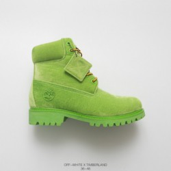 OFF-WHITE X Timberland 6-Inch Boot Rhubarb Boots Crossover Four-Color factory lacin